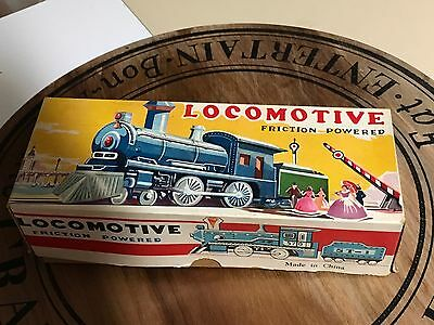Vintage Tin Plate Friction Drive Locomotive Toy Train