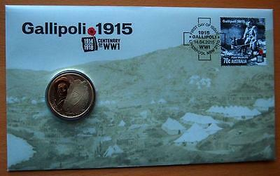 2015 Australian Anzac Centenary Of Ww1  Gallipoli Pnc Stamp And $1 Coin Covers