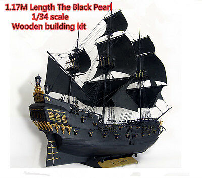 Scale 1/34 black pearl Pirates wooden ship model kit 1.17 meter length