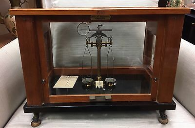 Vintage Victorian Antique Glass Mahogany Cased Balance Scales Hf Kulmann Hamburg