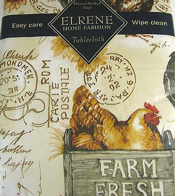 Chickens and Roosters  Flannel Back Vinyl Tablecloths Asst. Sizes Oblong & Rd.