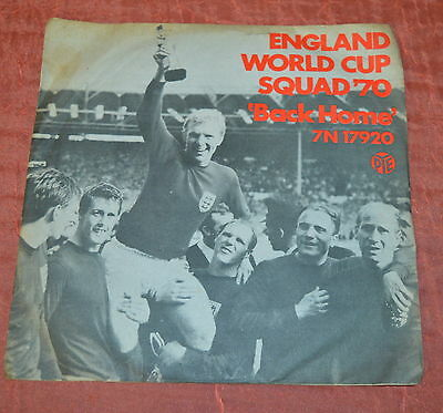 England World Cup Squad '70 Back Home 45rpm Record Single - free UK postage