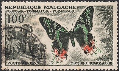 Malagasy 1960 100f Butterfly Airmail Used