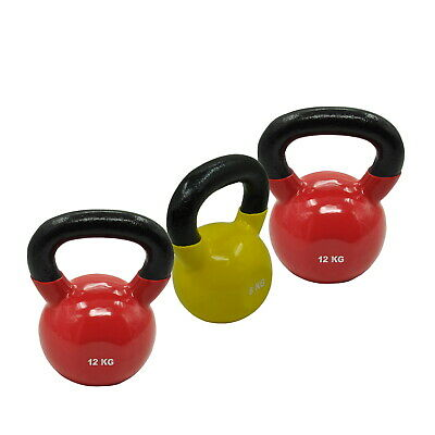 8KG + 12KGx2 = TOTAL 32KG IRON VINYL KETTLEBELL WEIGHT GYM STRENGTH TRAINING