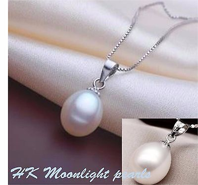 Sterling silver Genuine White Freshwater Pearl(10x12mm) simple Pendant Necklace