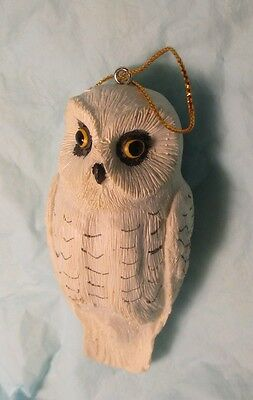 "4"" tall Snowy White Owl Hanging Christmas Ornament bird figure country barn"