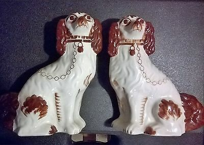 Vintage Staffordshire Style Wally Dogs  -Spaniels - Pair