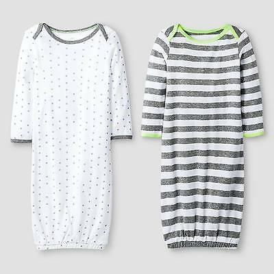 Baby 2 Pack Gown Set Baby Cat & Jack™ - Heather Grey/White 0-6M