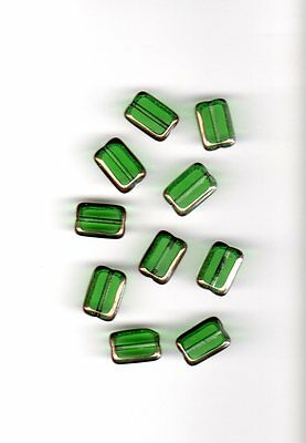 Vintage light emerald green rectangular glass beads with gold edges--12 mm.