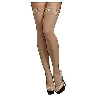 iCollection® Women's Lace Top Sheer Thigh High Stockings - Nude OSFM