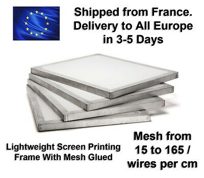 50x40cm Lightweight Silk Screen Printing Frame with Mesh   15 to 165 Wires / cm