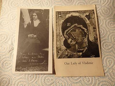 @ Vintage Religous Prayer Cards - St Therese - Our Lady Of Vladimir (G)
