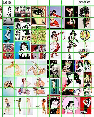 N019 Dave's Decal N Scale Decals Bettie Page Pin Up Poster Girls Garage Club Art