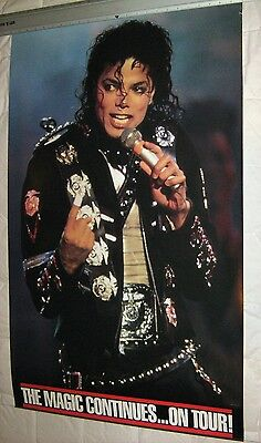 Unused MICHAEL JACKSON The Magic Continues On Tour PROMO POSTER 24 x 39 Bad 1987