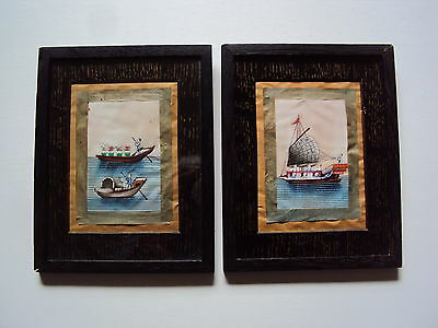 Pair of 19th Century Chinese on rice paper boat sampan watercolours