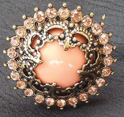 Vintage Large Ornate Gold Tone Faux Pink CORAL & Rhinestones Ring Size 7 to 8