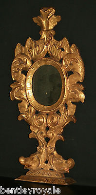 """A Rare & Exceptional C17th Italian Carved Giltwood Mirror Standing 18 1/2"""" Tall."""