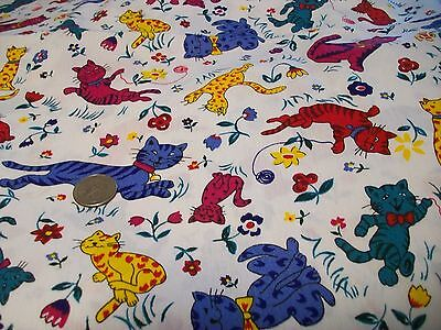 Springs Industries Vintage Cotton Quilt Fabric Cats on White Background BTY