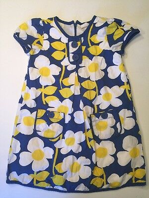 Mini Boden Floral Short Sleeved Dress Size 5-6Y Blue with White and Yellow