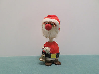 Wooden Christmas Elf bobble head with gold colored wire glasses & bell  Japan