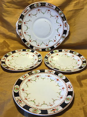"Antique M & S England / MELBA CHINA Tray w 3 7"" Dessert Plates: Painted Transfer"