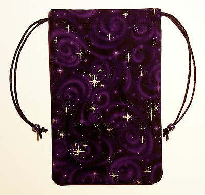 "Purple Celestial Stars Tarot Drawstring Bag Pouch 5""x7"" or for Runes Crystals"