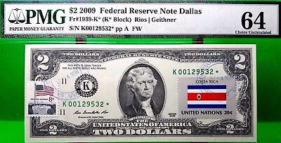Money Us $2 Dollars Federal Reserve Star Note 2009 Pmg  Flag Of Costa Rica