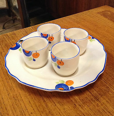 Myott Art Deco Egg Cup and Plate Set 1930s Very Rare