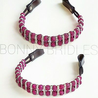 Double Row Shamballa Browband with Crystal Spacer Beads