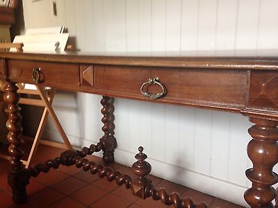 Antique C19th French Walnut Carved Two Drawer Library Desk (Table Barley Twist)