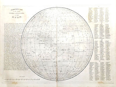 ASTRONOMY - CELESTIAL - CHART MOON    Original 1860 Antique Victorian Map