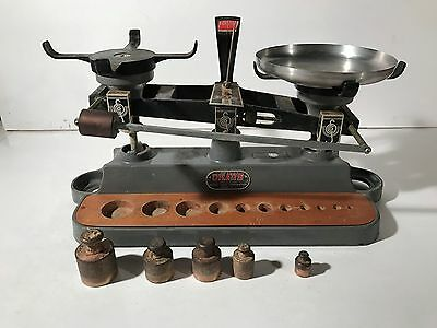 Vintage Ohaus 2001 Cast Iron (Aluminum?) Balance Scale With Weights