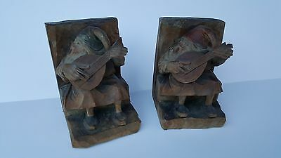 Black Forest Or ANRI Carved Wood Whimsical Gnomes Prop Up Books - Bookends!