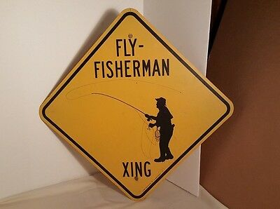 """Vintage 1988 Fly-Fisherman Xing Sheet Metal Yellow Coated 18""""x18"""" Wall Sign"""