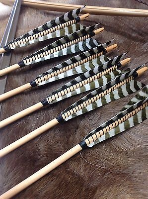 6 Wood Medieval Arrows for English Longbow or Recurve choose spine