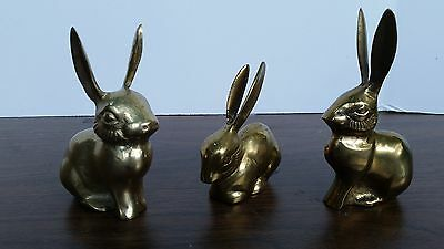 Vintage Solid Brass Bunny Bunnies Mid Century Rabbit Figurines Paper Weights