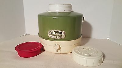 Vintage Large Green Metal Thermos Picnic Jug - Great Camping 12""