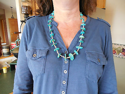 1920's - 1930 NAVAJO WEDGE / NUGGET TURQUOISE NECKLACE RESERVATION MADE 74 GRAMS