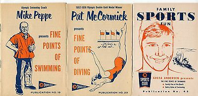 1958-59 Union 76 Gas Station Giveaways - 3 Diff Booklets Re: Swimming, Diving