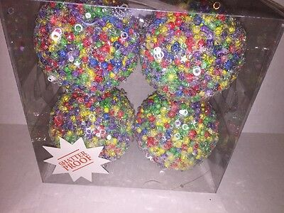 Set 4 Christmas Holiday Shatterproof Ornaments Rainbow Multi-Color Star Sequins