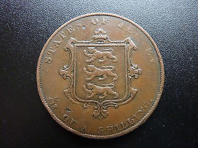 Scarce 1844 Victoria Jersey  Channel Islands 1/13 th of a Shilling Coin