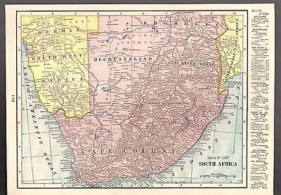 "Antique 1903 Color Detailed Map of South Africa by Geo F. Cram - Size 13"" X 9.5"""