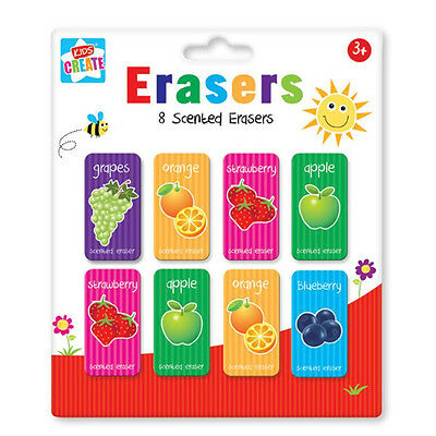 8 Fruit Scented Erasers Kids Children Rubbers Party Gift Bag Filler School
