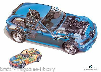 BMW Z3M Coupe Technical Cutaway Drawing - Laser Poster Print
