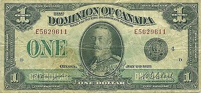 Dominion Of Canada $1 Dollar 1923 ~ Black Seal Group 4 ~ Campbell-Clark Sigs
