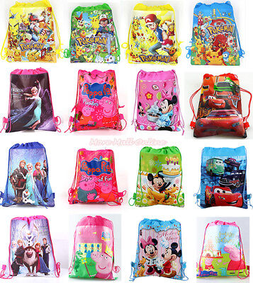 【Free STKR】Kids Drawstring Bag School Swim Peppa Paw Sofia Frozen Elsa Pikachu