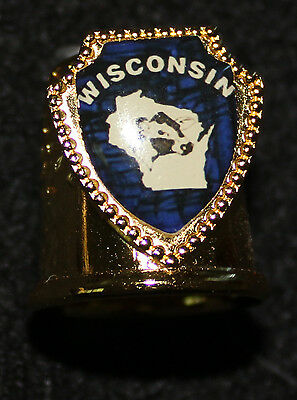 Wisconsin - Gold Metal Thimble