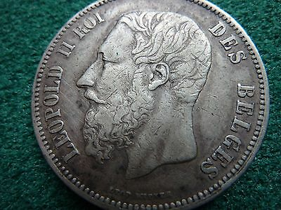 1873 Belgium  5 Francs Silver Coin Nicely toned