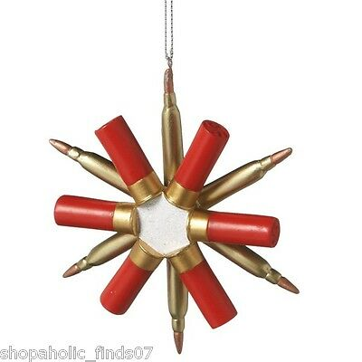 NEW Midwest CBK Hunting Shot Gun Shell Snowflake Christmas Ornament
