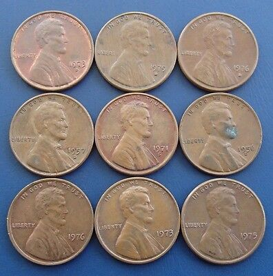 1950 - 1979 x 9 Different USA One 1 Cent Penny Coins - 4a